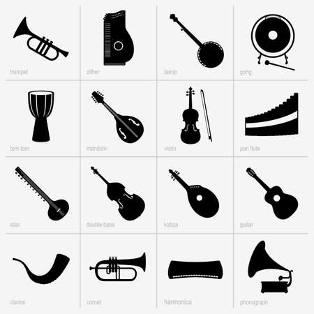 mandolin: Set of musical instrument icons (part 2) Illustration