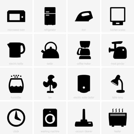 heater: Set of home appliance icons