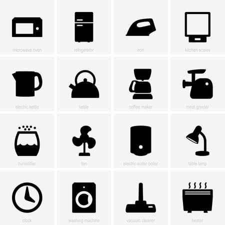 Set van huishoudelijke apparatuur pictogrammen