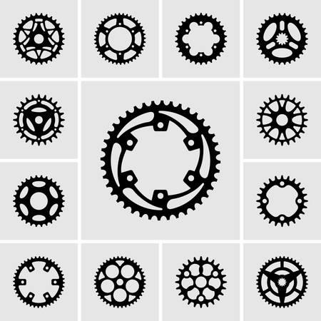Set of sprocket icons  イラスト・ベクター素材