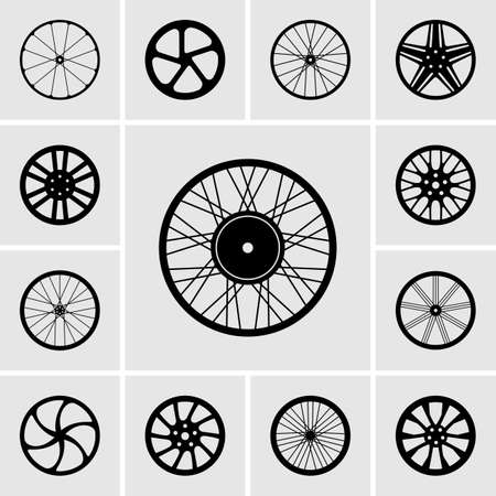 bicycle wheel: Set of wheels icons Illustration