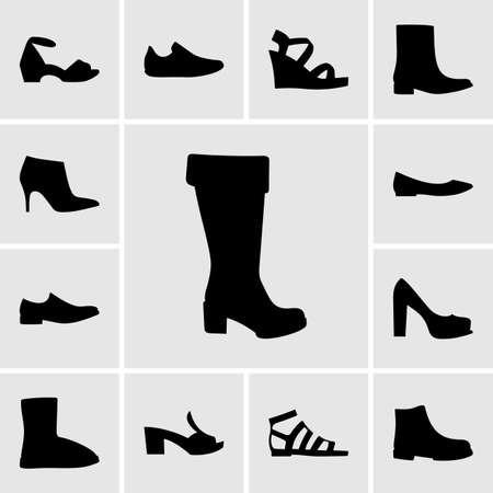 shoes: Set of shoe icons Illustration