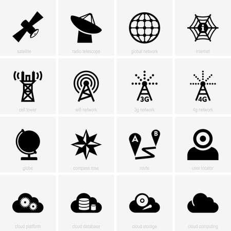 rosa dei venti: Set di icone di comunicazione