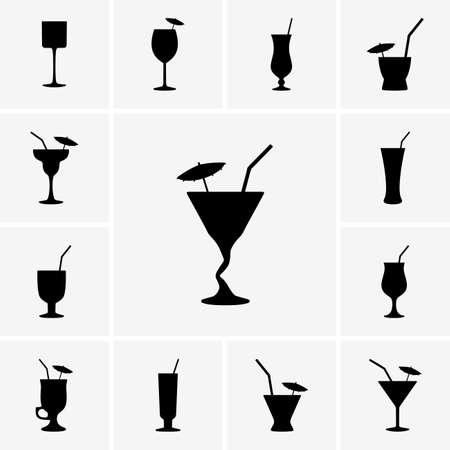 cocktail straw: Set of cocktails icons