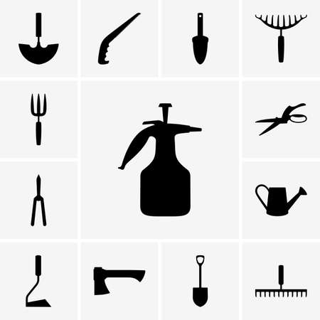 pulverizer: Set of garden tool icons