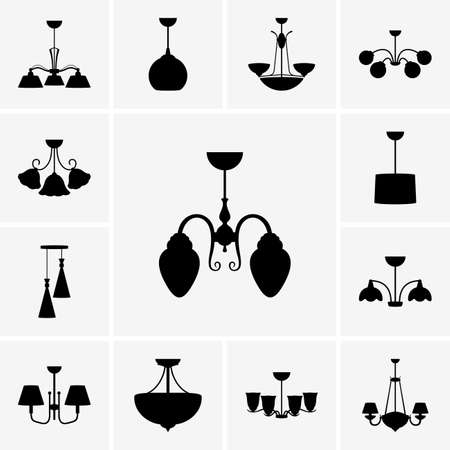 luster: Set of chandeliers icons Illustration