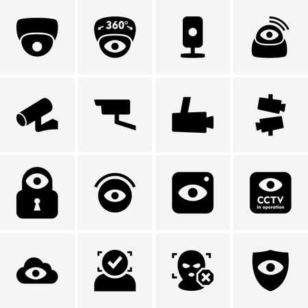monitoreo: Conjunto de iconos de videovigilancia