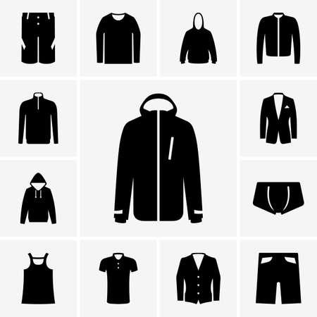 �sportswear: Conjunto de clothers hombre iconos parte 2 Vectores