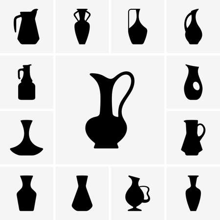 Set of jug silhouettes Vector