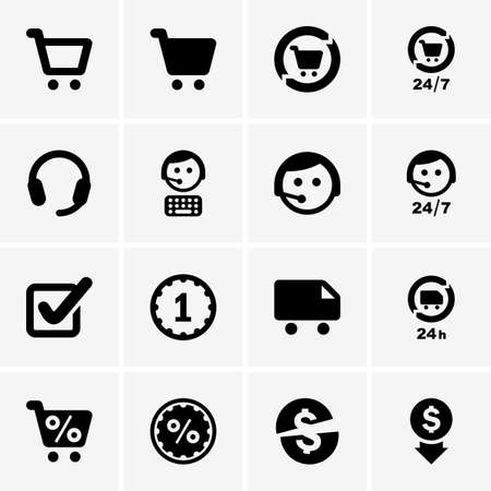 Set of shopping icons Stock Illustratie