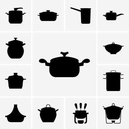 fondue: Set of pan icons