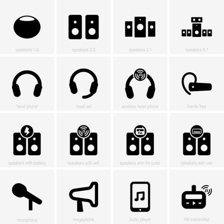 transmitter: Set of audio icons