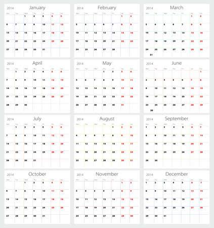 schedule appointment: Calendar 2014 Illustration