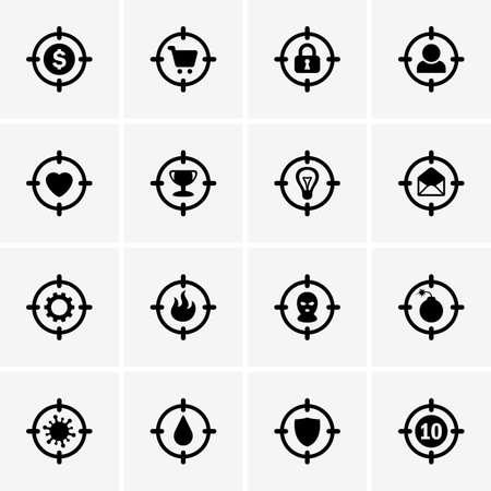 love target: Set of Target icons Illustration