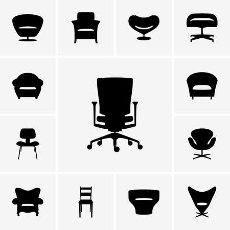 Set of Modern chairs Illustration
