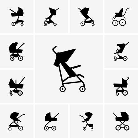Set of Baby Carriages Illustration
