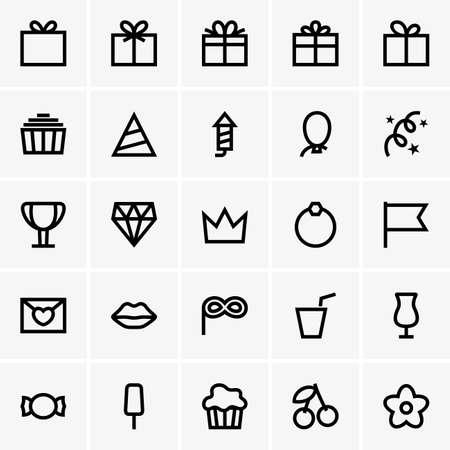 Set of Celebration icons Illustration