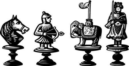 chess piece: Old chessmen Illustration