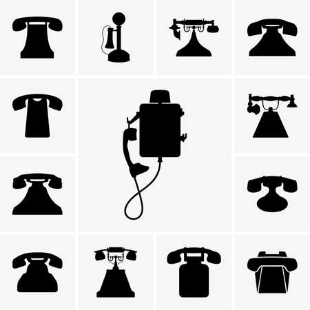 old phone: Set of old telephone silhouettes