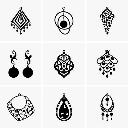 silver jewellery: Set of earrings Illustration