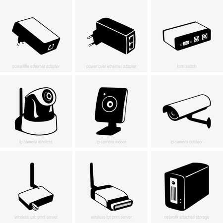 ip camera: Set of network equipment Illustration