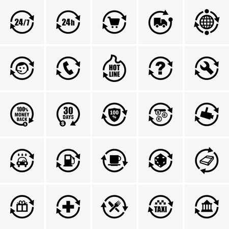 services icon: Set of 24 hours icons