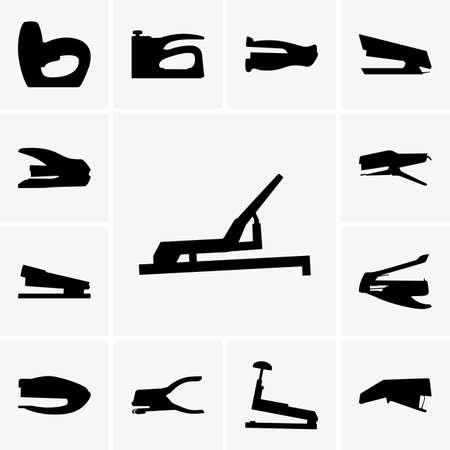 grapadora: Conjunto de siluetas grapadora