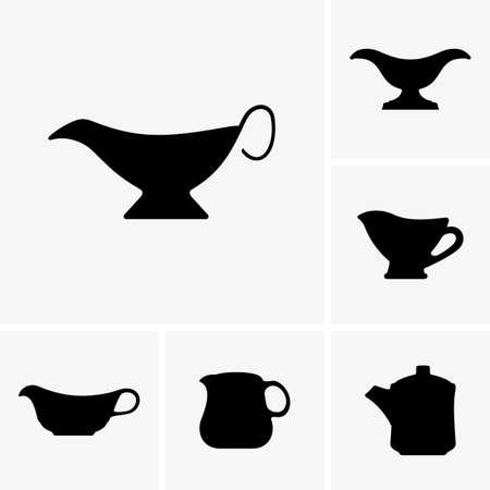 Set of Sauce boats  イラスト・ベクター素材