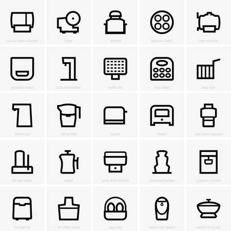 fryer: Set of Kitchen icons Illustration