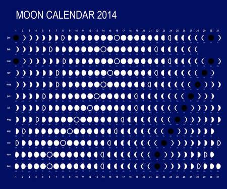 Moon calendar 2014 Stock Illustratie