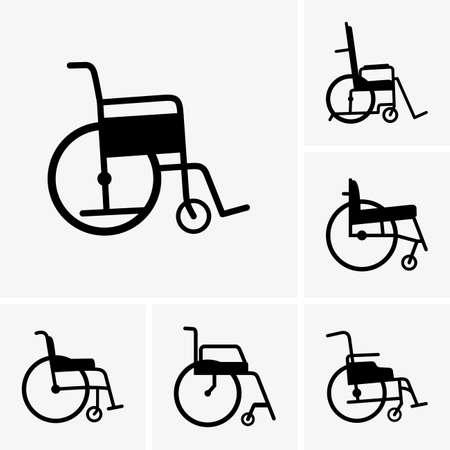 車椅子のアイコンを設定  イラスト・ベクター素材