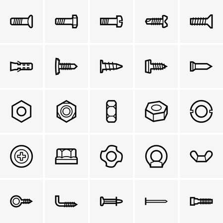 bolts: Set of Screws and nuts icons