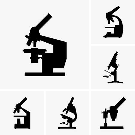 microscope lens: Set de iconos para microscopio Vectores