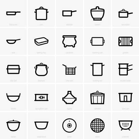 double boiler: Set of Kitchenware icons Illustration