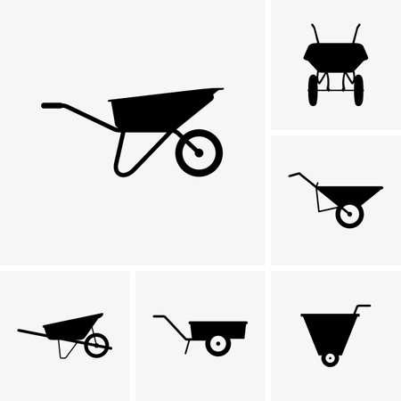 Set of wheelbarrow cart icons Illustration