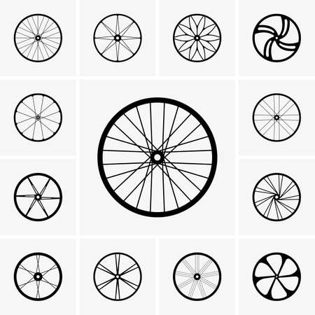 wheel rim: Set of Bicycle wheel icons