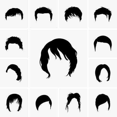 man haircut: Set of Hair Style icons