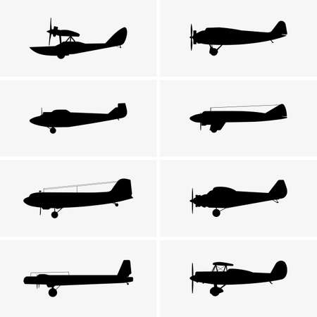 airplane icon: Set of old airplane icons Illustration