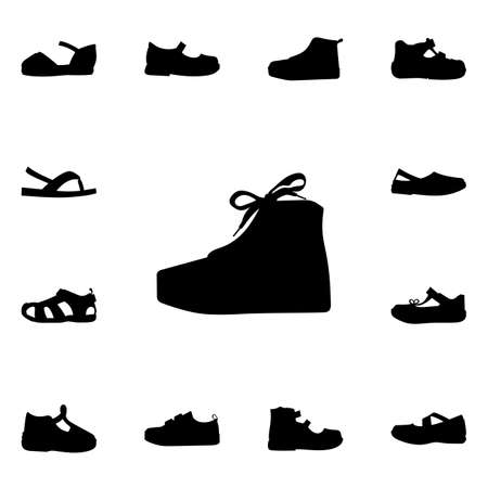 baby shoes: Set of kid shoes icons