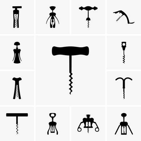 Set of corkscrew icons