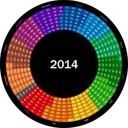 Round calendar 2014 Stok Fotoğraf - 24018668