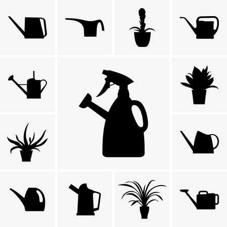 sprayer: Set of watering cans and flowerpots