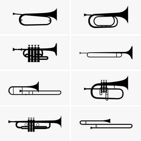 trompeta: Conjunto de trompetas Vectores