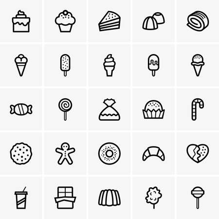 Set of sweet icons Vectores