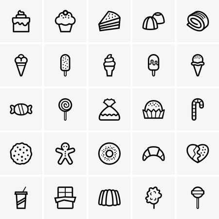 Set of sweet icons Stock Illustratie