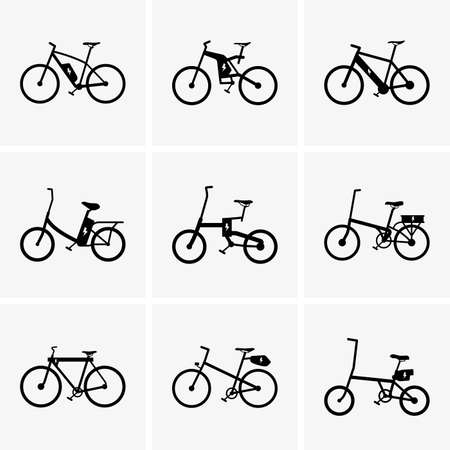 bicycle silhouette: Set of Electric bicycles Illustration