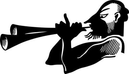 devil horns: Antique horn player