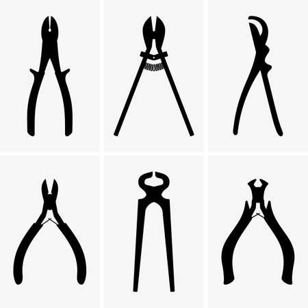 dikes: Set of six diagonal pliers Illustration