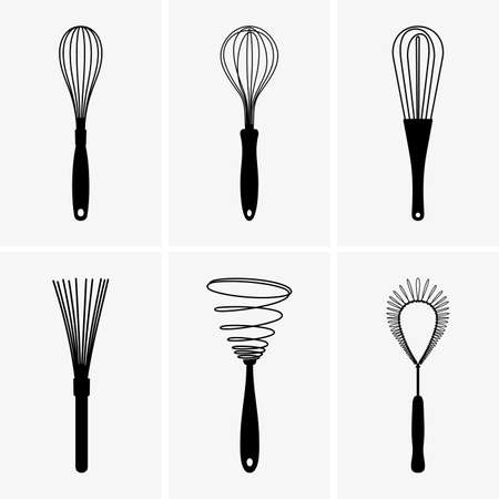 Set of whisks 矢量图像