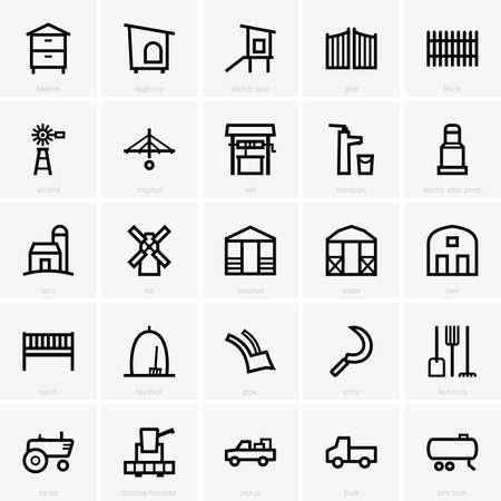 cosechadora: Iconos Granja Vectores